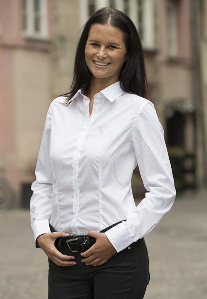 Damen Bluse - weiß, mit Swarovski-Applikation