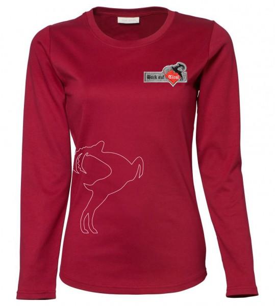 % Damen Langarm-Shirt - rot %