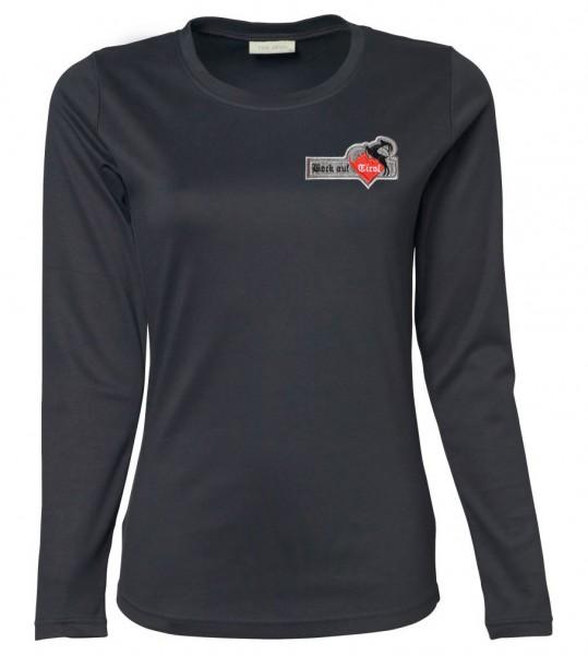 Damen Langarm-Shirt - grau, mit Emblem
