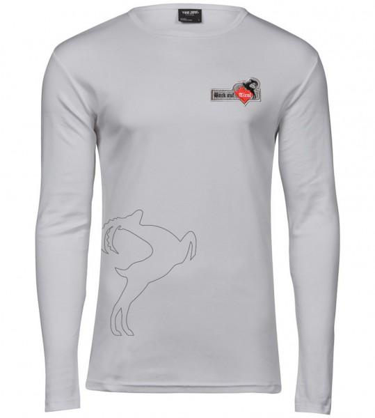% Herren Langarm-Shirt - weiß %